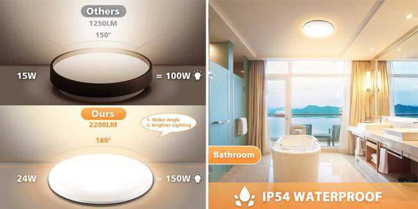 Lámpara de techo LED Elfeland IP54 de 24W, 2.200LM y 3.000K oferta en Amazon