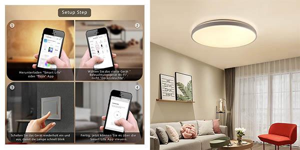 lámpara WiFi Jdong compatible con Alexa y Google Home chollo