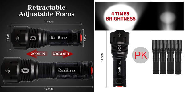 Linterna LED Alta Potencia Militar T6 Rehkittz S1600 chollo en Amazon