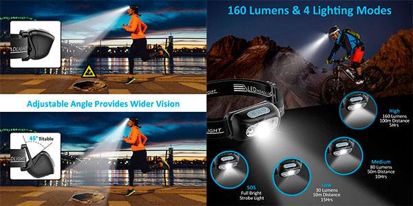 Linterna frontal LED Cocoda USB recargable con 4 modos barata