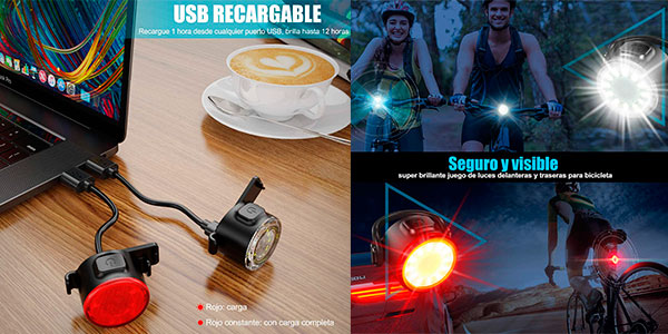 Luces LED impermeables y recargables para bicicleta en oferta