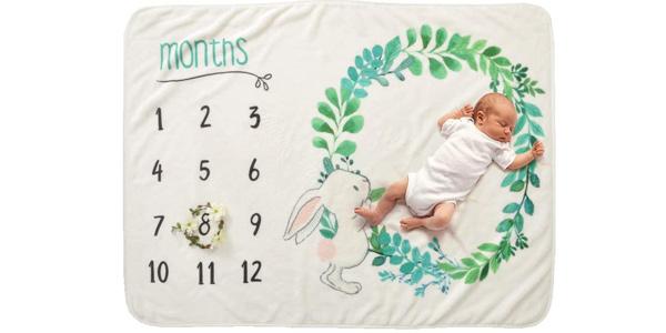 Manta de franela para bebé con mes o talla para fotos barata en Amazon