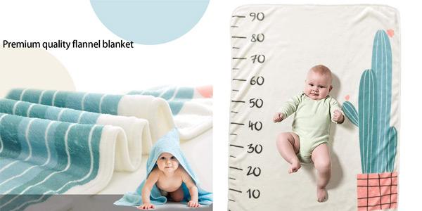 Manta de franela para bebé con mes o talla para fotos chollo en Amazon