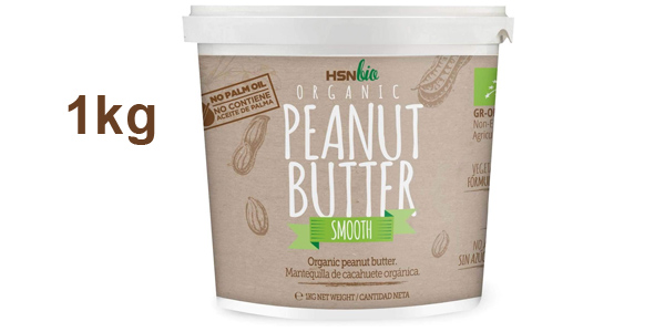 Mantequilla de cacahuete orgánica HSNBio Suave de 1 kg barata en Amazon
