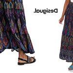 Falda larga estampada Desigual Norah para mujer barata en Amazon