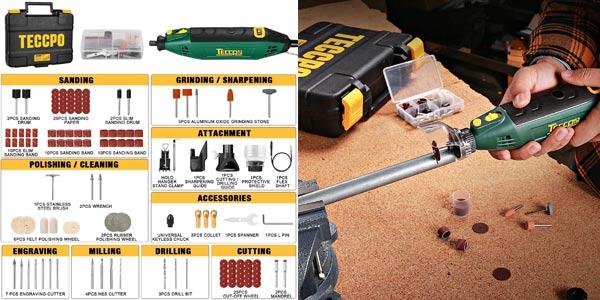 Mini amoladora eléctrica Teccpo de 200W + 120 accesorios oferta en Amazon
