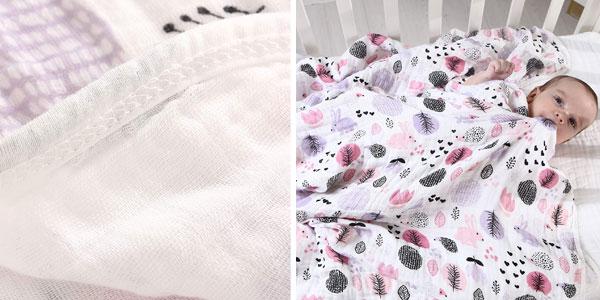 Comprar Muselina de 2 capas LAT &Miracle Baby de algodón puro para bebé chollo en Amazon