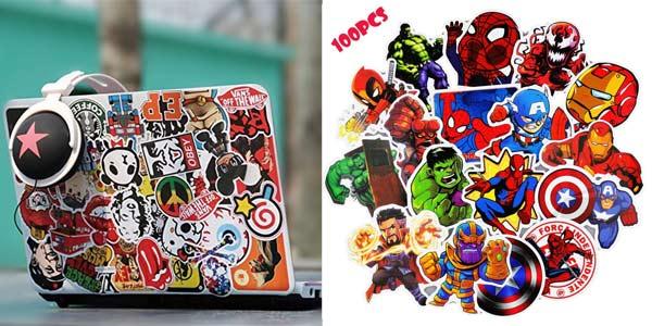 Pack x100 pegatinas de super héroes Marvel barato en Amazon