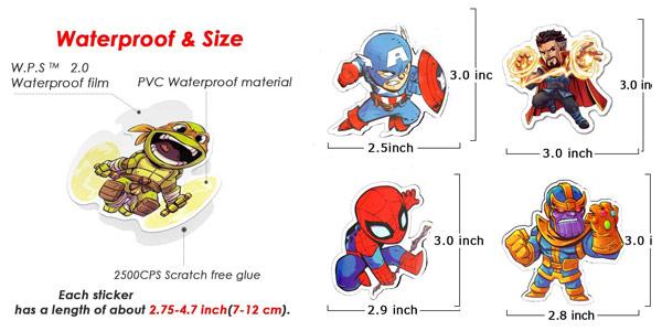 Pack x100 pegatinas de super héroes Marvel chollo en Amazon