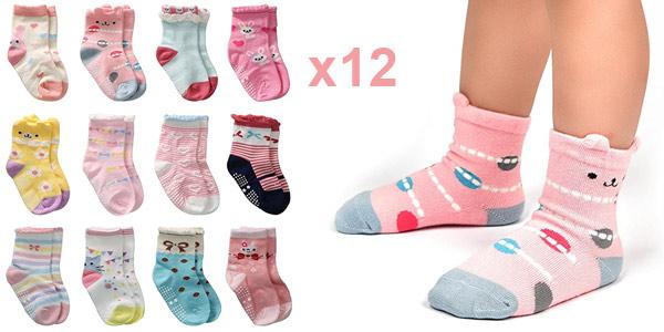 Pack x12 Pares de Calcetines antideslizantes Cottock para bebé y niños barato en Amazon
