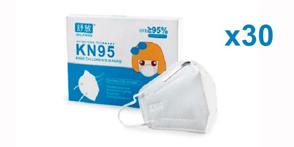 Pack 30 mascarillas KN95 infantiles baratas en AliExpress