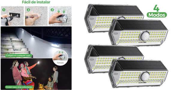 Pack x4 Luces LED Solares para Exterior Litom baratas en Amazon