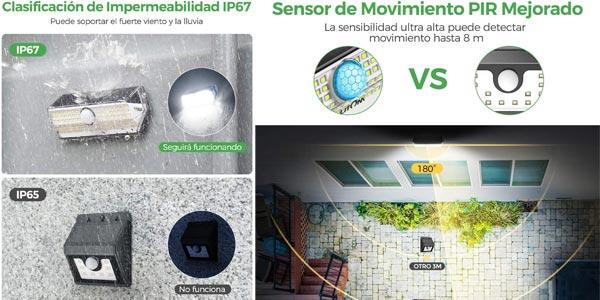 Pack x4 Luces LED Solares para Exterior Litom chollo en Amazon