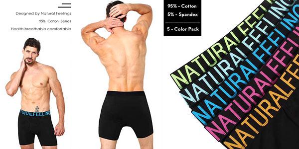 Pack x5 Calzoncillos Bóxer Natural Feelings para hombre chollo en Amazon