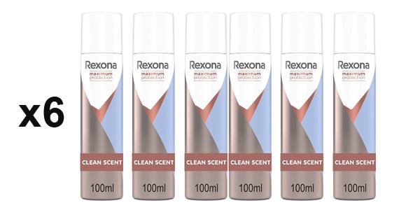 Pack x6 Desodorante Spray Rexona Clean Scent Maximum Protection de 100 ml/ud barato en Amazon