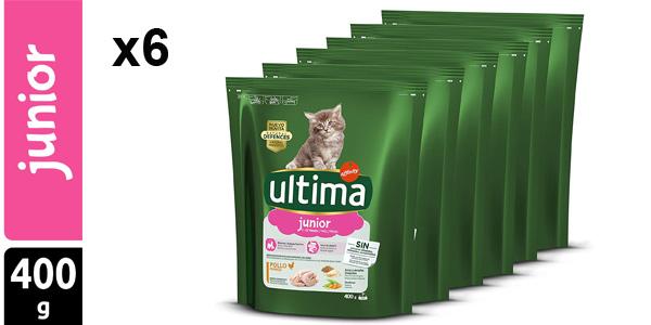Pack x6 pienso para gatos Ultima Junior con pollo de 400 gr/ud barato en Amazon