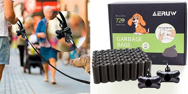 Pack de 760 bolsas biodegradables con 2 dispensadores para excrementos de perro barato