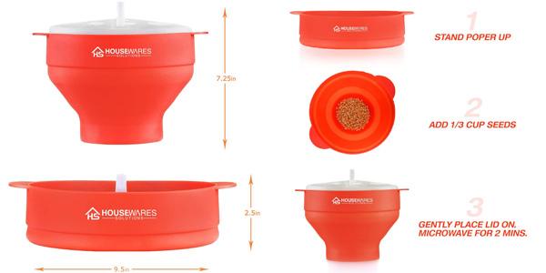 Palomitero plegable de silicona para microondas chollo en Amazon