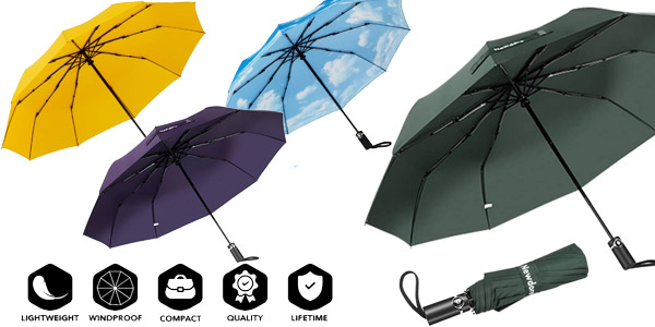 Paraguas Plegable Newdora automático y con bolsa de transporte barato en Amazon
