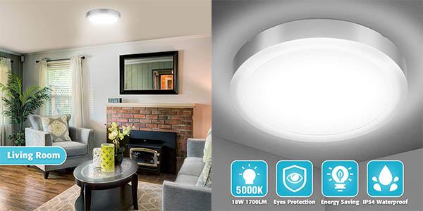 Plafón LED Elfeland de 18W en blanco natural o cálido en Amazon