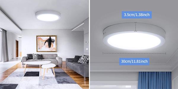 Plafón LED de techo Ousfot de 24W, 6000K y 2200LM chollo en Amazon