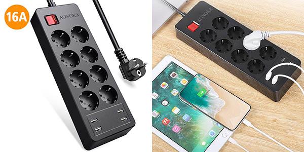 Regleta de enchufes Aonoka con 8 tomas y 4 USB de carga en Amazon