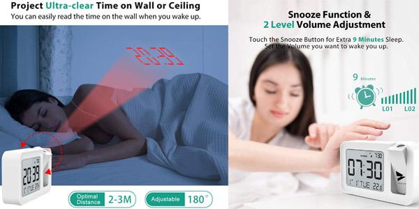 Reloj Despertador Digital Hosome con termómetro, proyector y snooze chollo en Amazon