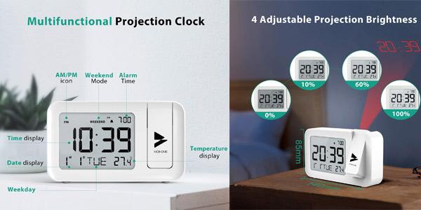 Reloj Despertador Digital Hosome con termómetro, proyector y snooze oferta en Amazon