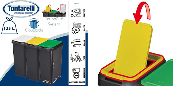 Set 3 cubos de reciclaje Tontarelli Touch & Lift de 135 litros barato en Amazon