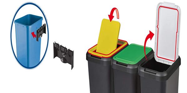 Set 3 cubos de reciclaje Tontarelli Touch & Lift de 135 litros chollo en Amazon