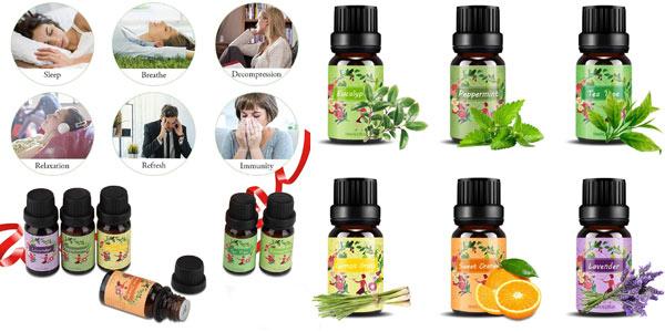 Set x6 aceites esenciales Isuda 100% Natural Aromaterapia chollo en Amazon