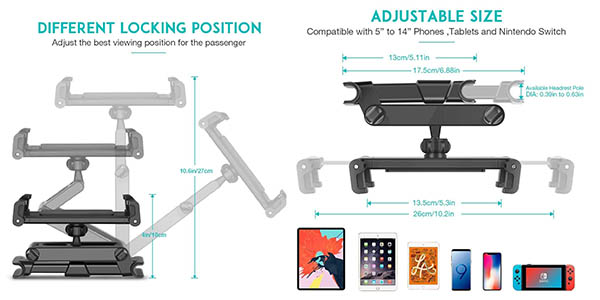 soporte ajustable Sawake para smartphone y tableta para el asiento del coche con cupón descuento en Amazon