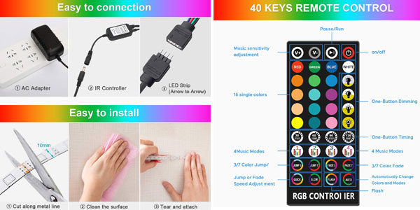 Tira decorativa impermeable LED RGB Fansteck de 5m y 150 LEDs con control remoto oferta en Amazon
