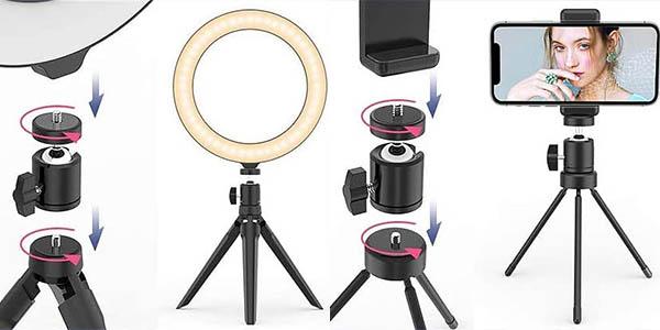 Trípode con anillo de Luz LED para smartphone en Amazon