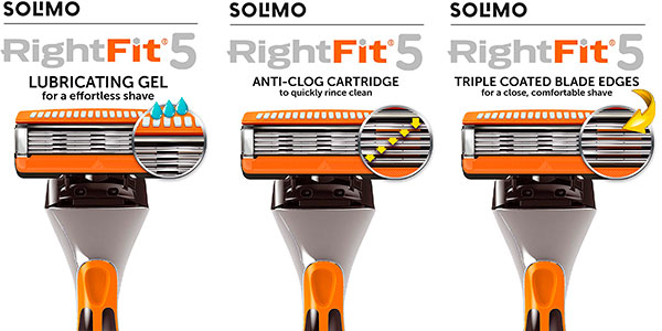 Pack de 8 cuchillas de recambio Solimo RightFit 5 en oferta