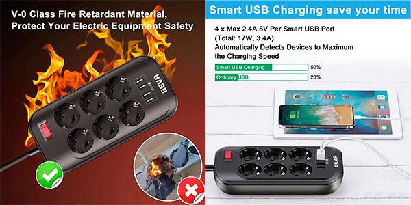 Regleta BEVA de 6 enchufes y 4 puertos USB barata