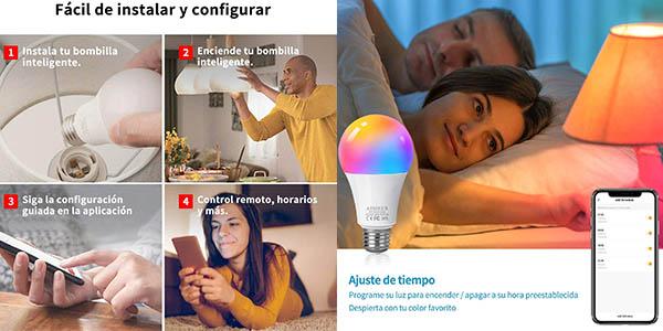 bombillas inteligentes LED Aisier con control mediante app móvil pack ahorro
