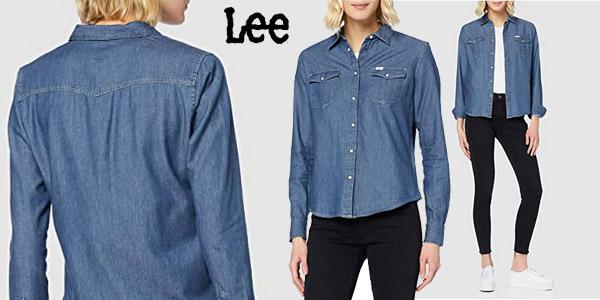Camisa vaquera Lee Western Bel Air Blue para mujer barata en Amazon
