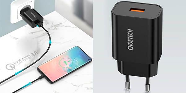 Cargador USB CHOETECH con carga rápida QC3.0 barato