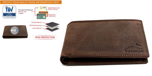 Cartera con monedero y protección RFID acabado cuero barata en Amazon