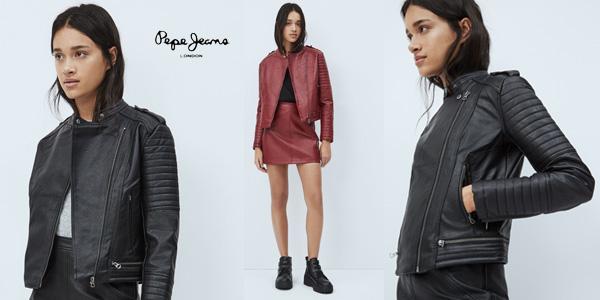 Chaqueta de cuero Pepe Jeans Lenna para mujer barata en Amazon