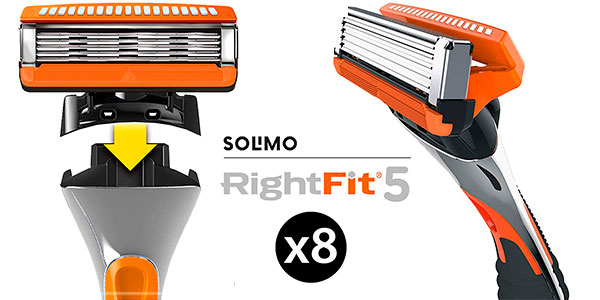 Chollo Pack de 8 cuchillas de recambio Solimo RightFit 5
