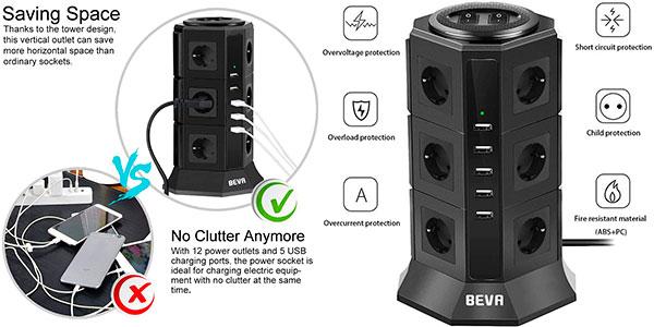 Chollo Regleta vertical BEVA de 12 tomas + 5 USB