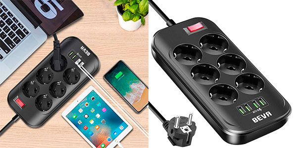 Chollo Regleta BEVA de 6 enchufes y 4 puertos USB