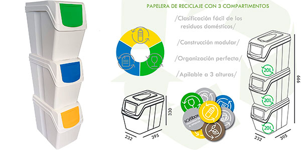 Chollo Juego Prosperplast de 3 cubos de reciclaje de 20 litros