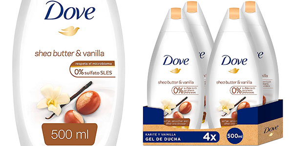 Chollo Pack de 4 botes de gel de ducha Dove karité y vainilla de 500 ml