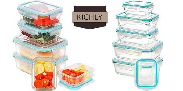 Chollo Set Kichly de 6 recipientes de cristal con tapas