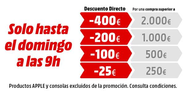 Descuento directo de 25€ a 400€ en Media Markt