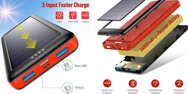 Ekrist batería portátil con carga solar de 26800mAh en oferta