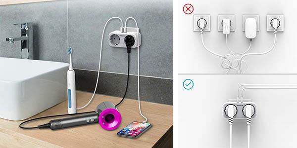 enchufe 4 en 1 Tessan con clavijas USB y toma de corriente oferta
